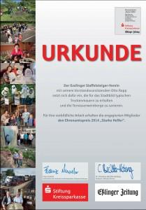 Urkunde Ehrenamtspreis